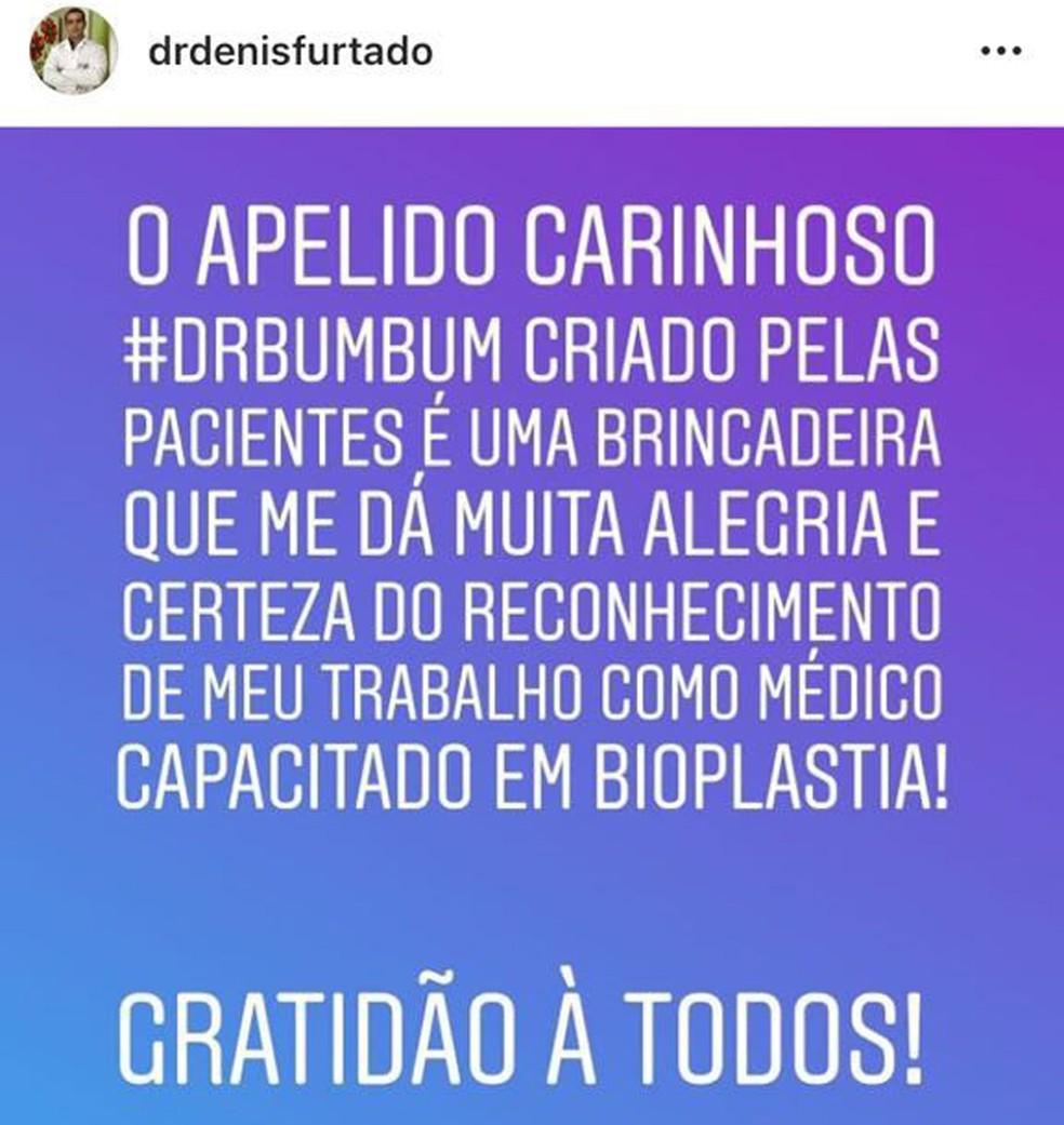 Dr. Bumbum tem 645 mil seguidores em rede social — Foto: Instagram/Reprodução