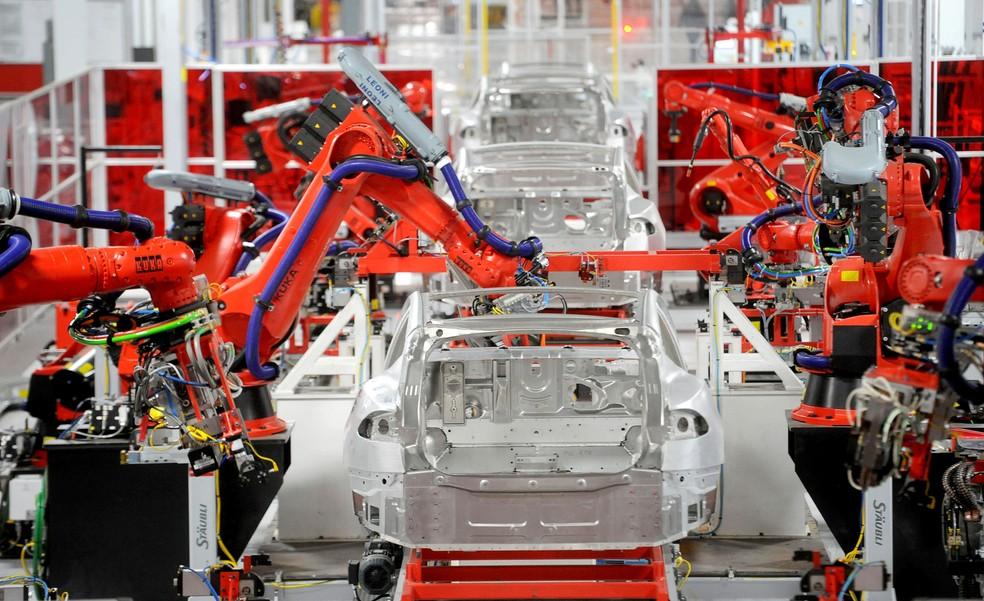 Fábrica da Tesla na Califórnia, EUA — Foto: Noah Berger/Reuters