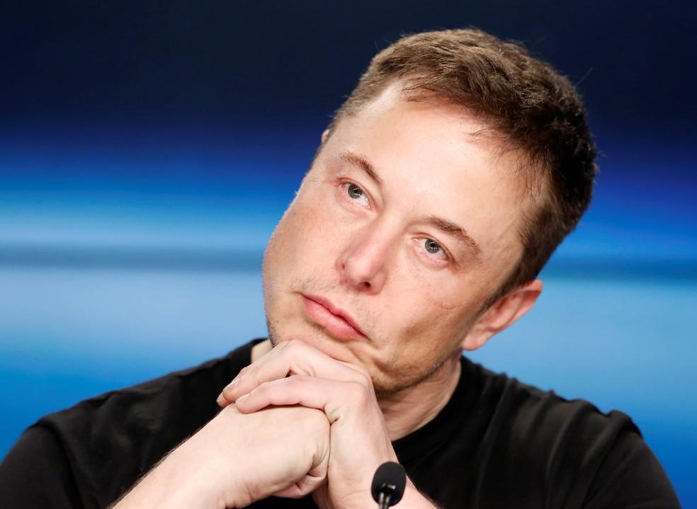 Elon Musk em conferência de imprensa em fevereiro de 2018 — Foto: Joe Skipper/Reuters