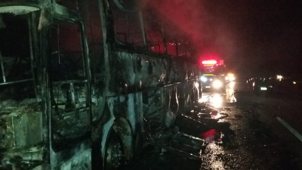 Ônibus de turismo ficou totalmente destruído após pegar fogo em MG — Foto: Corpo de Bombeiros/Divulgação
