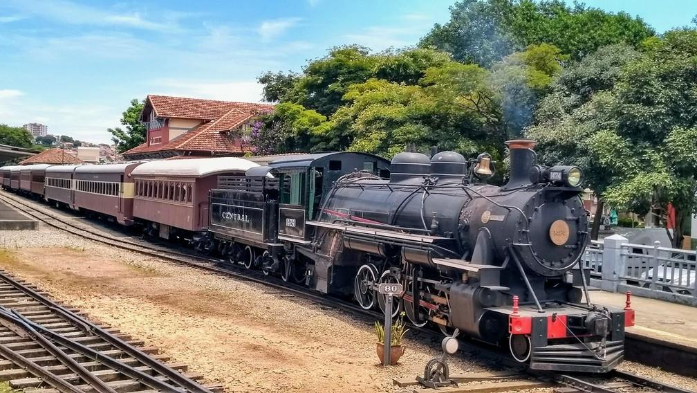 O Trem das Águas em São Lourenço (MG) — Foto: Associação Brasileira de Preservação Ferroviária (ABPF)