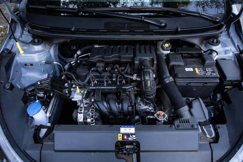 Motor 1.0 do Hyundai HB20 Sense rende 80 cv — Foto: Celso Tavares/G1