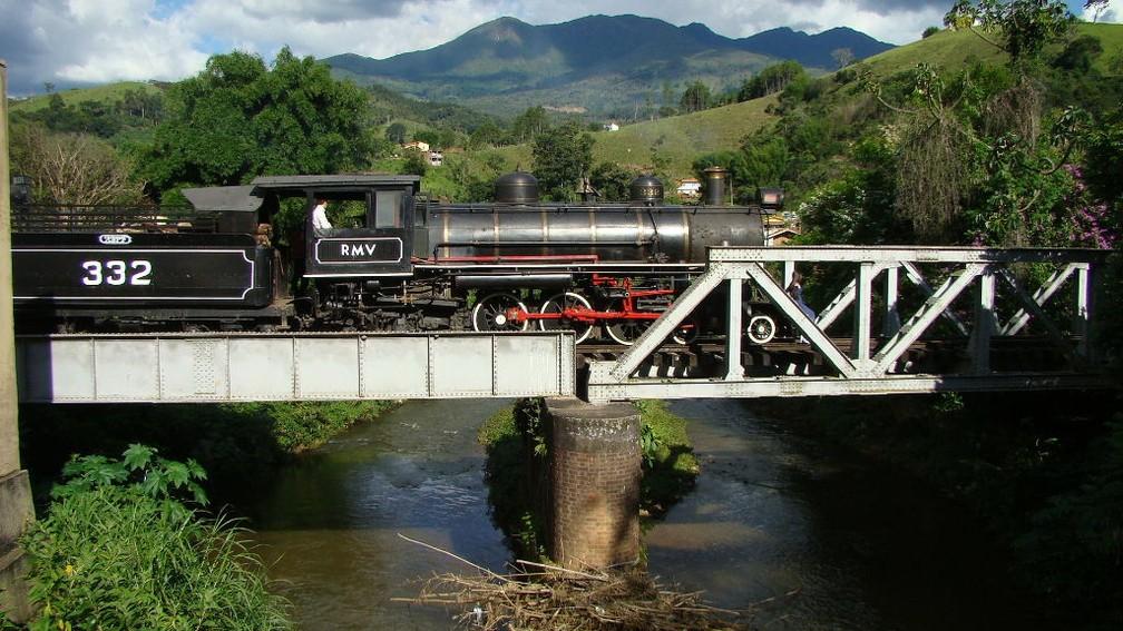 Trem da Mantiqueira em Passa Quatro (MG) — Foto: Associação Brasileira de Preservação Ferroviária (ABPF)