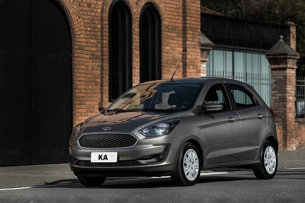 ford ka hatch cinza de frente